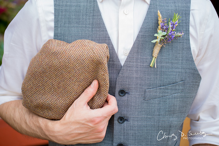 boutonniere and hat
